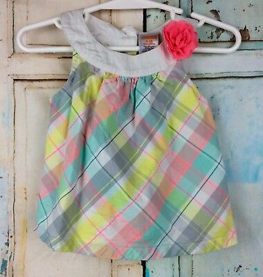 Gymboree Girl's Sundress Multi-Color Attached Pink Flower Size 6 - 12 Months