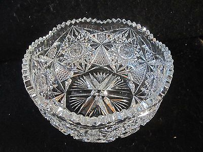 Antique Large Abp American Brilliant Deeply Cut Glass Center Bowl Unsigned 9 X 4