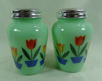 Dutch Tulips Salt and Pepper Shakers Jadeite Green Milk Glass Jadite RETRO