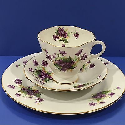 Vintage CLARENCE BONE CHINA Tea Cup  Saucer  and plate Violets Gold Trim