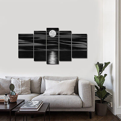 Hand Paint Original Abstract Canvas Painting Home Art Decor Black Moon Framed