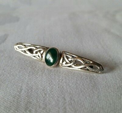 Vintage Solid Sterling Silver 925 Jade Stone Celtic Style Art Nouveau Pin Brooch