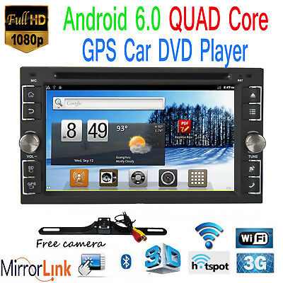 "6.2"" Smart Android 4G WiFi Double 2DIN Car Radio Stereo DVD Player GPS+Camera"