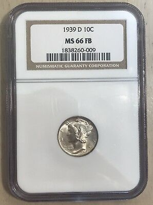 NGC MS66 1939 D FB mercury dime us mint San Francisco 90% silver coin FULL BAND