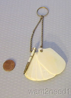 Antique 19C French Ivory CELLULOID CHATELAINE NOTEBOOK & PENCIL folding pages