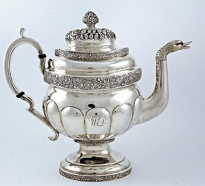 Huge Early GARRETT EOFF American Coin Silver TEA POT Duck Head Spout c1830