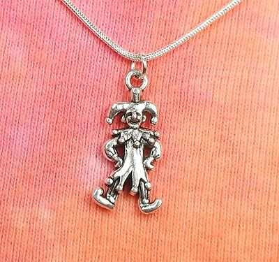 Jester Harlequin Necklace, Double Sided Joker Clown Charm Pendant Actor Jewelry