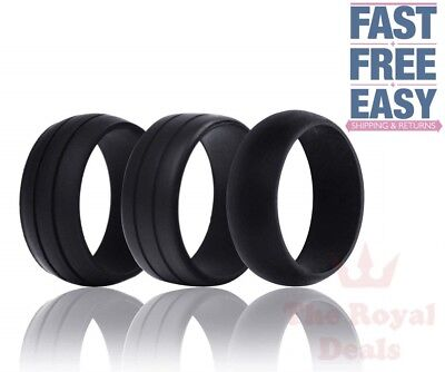 3Pcs Silicone Men Wedding Ring Rubber Band Flexible Sport Gym Work Antibacterial
