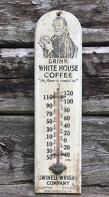 RARE Vintage Original WHITE HOUSE COFFEE Dwinell Wright Wooden Thermometer Sign