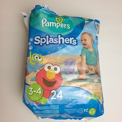 Pampers Splashers Disposable Swim Pants Elmo Cookie Monster Diapers Size 3-4