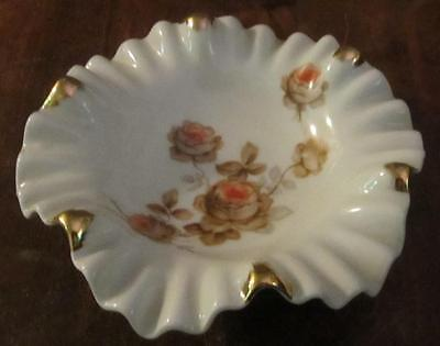 """Vintage Mitterteich Bavaria Norway Rose Scalloped 6 1/4"""" D Candy / Nut Dish Bowl"""