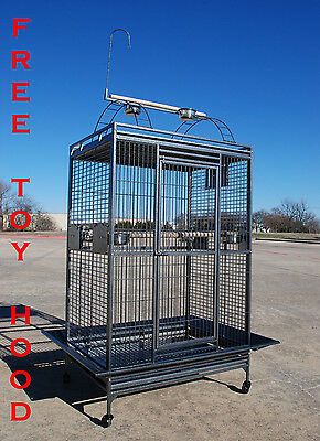 """Extra Large Parrot Macaw Cockatoo African Grey IronCage W/Toy Hood 36""""Wx28""""x68""""H"""