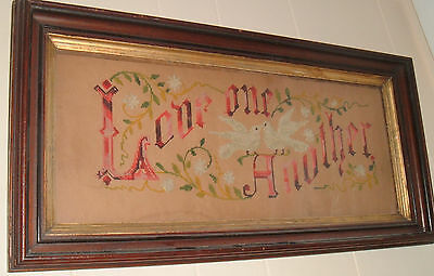 """ANTIQUE EMBROIDERY PUNCH PAPER MOTTO SAMPLER """"Love One Another"""" W/ PAIR  DOVES"""