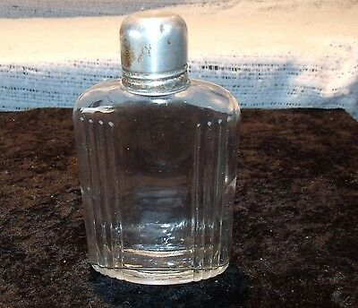Vintage Ribbed Glass Liquor Whiskey Flask w/ Shot Glass Top