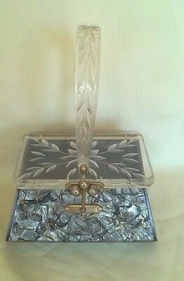 Vintage Lucite Silver Gold Glitter Etched Hand Bag Purse Florida Bags Exc.