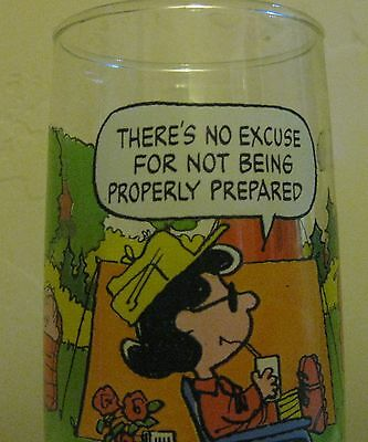 "Vintage McDonalds Peanuts Glass Camp Snoopy Collection ""Not Prepared"""