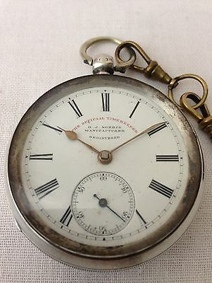 Antique Solid Sterling Silver Pocket Watch London 1896- Victorian Pocket Watch
