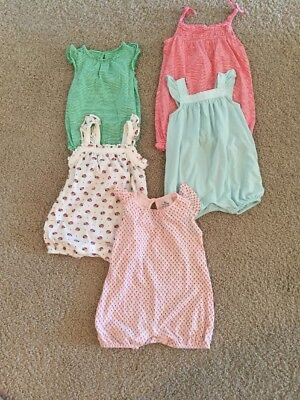 Baby Girls Lot Of Gap First Favorite Knit Cotton Rompers 3-6 Months