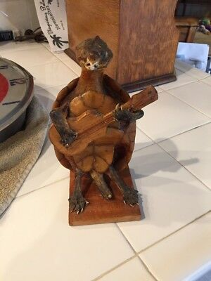 "Vintage Taxidermy Turtle Playing A Guitar Marked Mexico 8"" Tall"