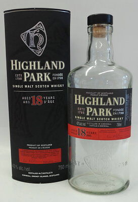 HIGHLAND PARK 18 Y.O. SCOTCH BOTTLE & BOX 750ml
