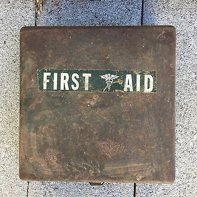 Vintage Army First Aid Kit Metal Box Original Contents