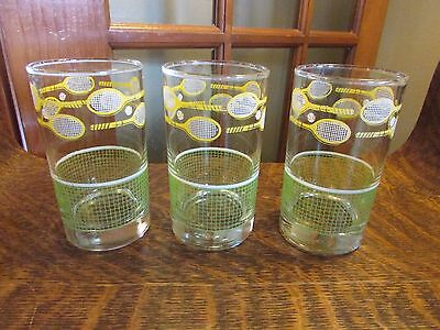 (3) Vintage Libbey Glass Tennis Racquet And Net, Tumblers, Yellow, Green, White