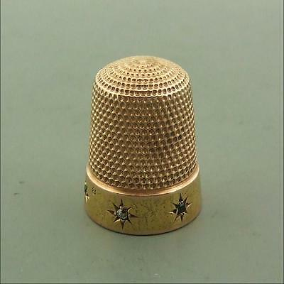 Antique 16Ct Gold Thimble Set With Diamonds And Emeralds