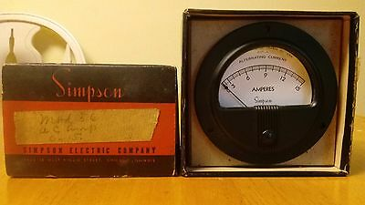 Simpson AC Amps 0 - 15A Vintage NOS Panel Meter Model 56  NOS in Box