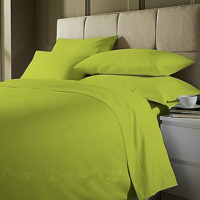 3 Piece Plain dyed Duvet Quilt Cover Bedding Set Lime Green Single,Double,King