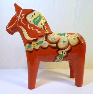 """Vintage SWEDISH RED DALA HORSE Hand Carved and Painted Wood 6.5"""" Size Folk Art"""