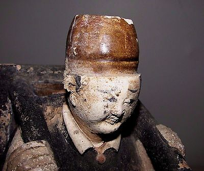 """Antique Chinese Ming Tomb Burial Pottery Figure Merchant c.1368-1644 / 10.5"""" h"""