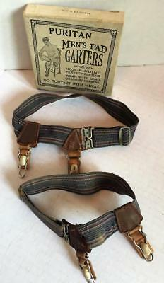Antique PURITAN Men's Pad GARTERS w/ Box For holding up Socks Leather Elastic