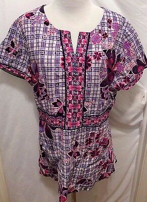 Koi Scrub Top XL Purple Pink White Floral Plaid Short Sleeve V-Neck Pockets