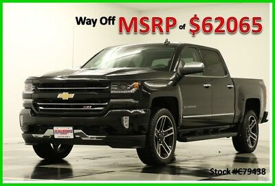 2017 Chevrolet Silverado 1500 MSRP$62065 4X4 LTZ Z71 GPS Sunroof Black Crew 4WD New Navigation Heated Cooled Leather 22 In Rims Wheels 17 6.2L V8 Short Bed