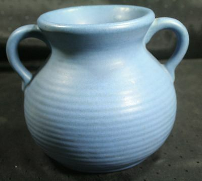Vtg Hand Thrown Ringed Studio Art Pottery Urn with two handles Blue Matte X136