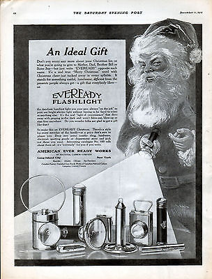 1915 Eveready Flashlight Ad ---Christmas 1915 --Santa ---x922