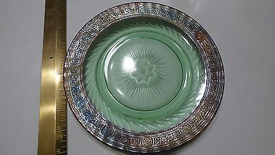 Antique Green depression glass dish plate with Metal Trim Mint