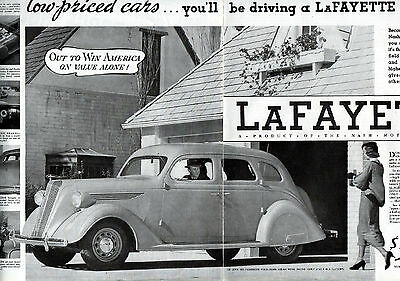 1937 Nash Car Ad -LayFayette-- 2 Page ad -21 x 13 3/4----v988