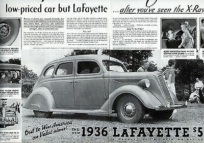 1936 Nash Car Ad -Nash Lafayette, 2 Page Ad --21 1/2 x 13 3/4 Inches---v991