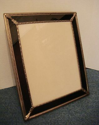Antique 1920's ART DECO Frame Brass Black Gold Reverse Painted Glass 10 x 12 In