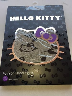 Sanrio Hello Kitty Sheer Tights Gray Black Size M/L Authentic Licensed Brand New