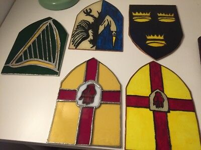 Lot of 5 antique vintage stained glass window triangle panels or inserts Vitrage