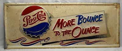 Very Rare Pepsi Cola (More Bounce To The Ounce)  Red, White and Blue Ribbon Sign