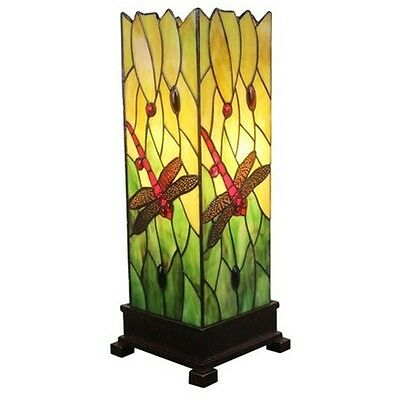 Dragonfly Floor Lamp Handcrafted Stained Glass Tiffany Style Design Table Light