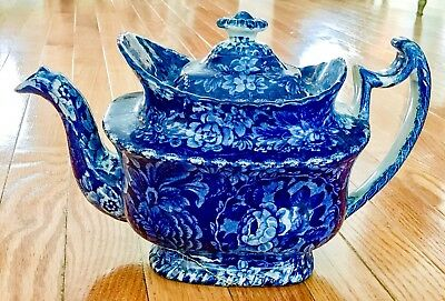 Antique Flow Blue Transferware Staffordshire Teapot Unmarked Possibly Adams