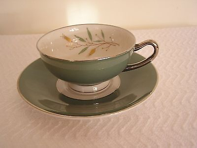 Vintage Syracuse Fine China Splendor Tea Cup and Saucer, Green with Leaf Motif