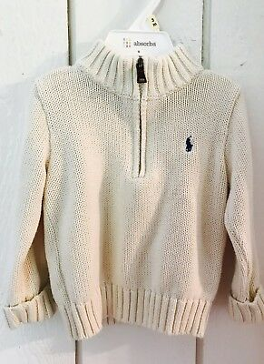 Toddler clothes boys 18 months sweater Ralph Lauren Ivory 1/2 Zip Ivory
