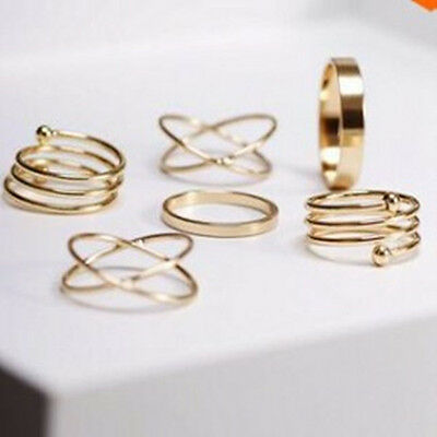 NEW 6 Silver Gold Ring Band Set Wire Wrap Rings Women Jewelry Vintage Fashion