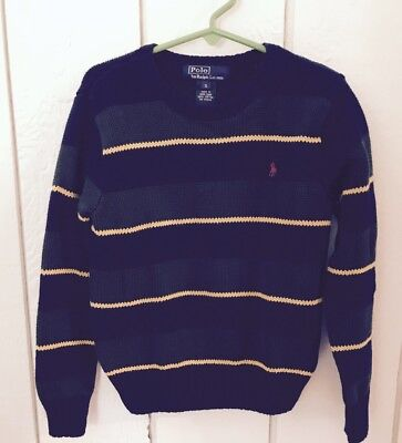 Boys Polo Ralph Lauren size 5 sweater striped pullover green blue Fall