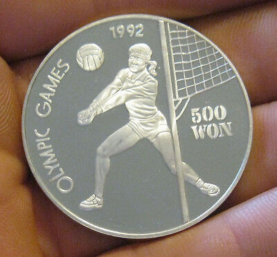 Korea - 1991 Large Silver 500 Won - Volleyball